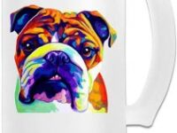 Jarra de cristal para birra con bulldog multicolor