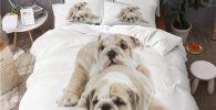 Juego de Funda de Edredon con Cachorros de Bulldog ingles 200x200cm