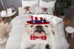 Juego de Ropa de Cama 3 Piezas Microfibra con bulldog ingles con bandera 200x200cm
