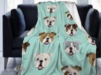Manta de Terciopelo de Felpa con bulldogs ingleses