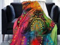 Manta de microfibra ligera y suave con bulldog ingles de colores