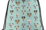 Mochila de bulldogs con cordones azul turquesa