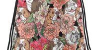Mochila de bulldogs y estampados con cordones