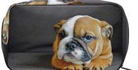 estuche Neceser de bulldog cachorro puppy con cremallera