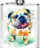 Petaca de acero para licor con acuarela bulldog ingles