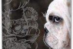 Petaca para licor con bulldog ingles blanco