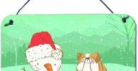 Placa de madera con bulldog ingles y muneco de nieve