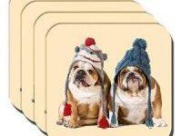 Posavasos bulldog ingles vestido de invierno