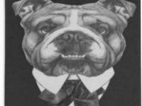 Posavasos ceramica bulldog ingles gentleman vintage