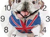 Reloj de Pared Redondo con diseño de Bulldog ingles y bandera britanica
