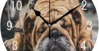 Reloj de pared de bulldog ingles acabado acrilico