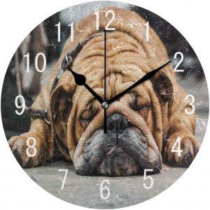 Reloj de pared de bulldog ingles acabado acrilico RELOJES DE BULLDOGS