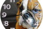 Reloj de pared redondo con cachorro bulldog ingles