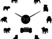 Reloj pared bulldog ingles siluetas acrilico