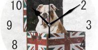 Reloj pared con bulldog ingles acrilico bandera Reino Unido