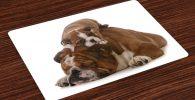 Salvamantel Set de 4 Unidades Bulldog İngles con cachorro