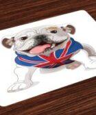Salvamantel set de 4 unidades cachorro bulldog ingles con bandera UK