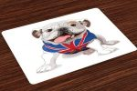 Salvamantel set de 4 unidades cachorro bulldog ingles con bandera UK