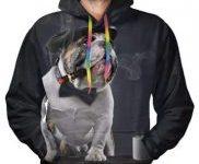 Sudadera con capucha para hombre y bulldog elegante