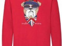 Sudadera roja sin capucha con english bulldog