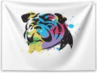 Tapiz bulldog ingles abstracto colores 150x110cm