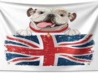 Tapiz de bulldog ingles bandera UK 230x140cm