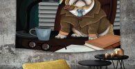 Tapiz de pared con Bulldog ingles detective