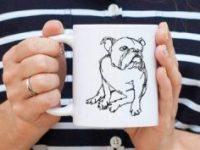 Taza bulldog ingles diseño minimalista
