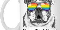 Taza de cafe bulldog ingles LGTBI