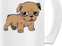 Taza de pub de vidrio con cachorro bulldog puppy