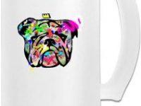Taza de vidrio para cerveza con bulldog multicolor