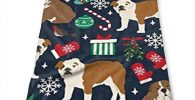 Toalla de microfibra y poliester con bulldog ingles en navidad