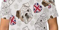 camiseta con bulldogs blanca