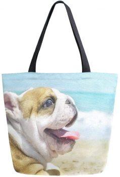 Bolso de lona reutilizable bulldog puppy cachorro