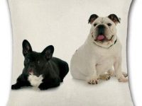 Cojin de algodon con bulldog ingles y bulldog frances