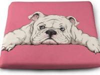 Cojin rosa de bulldog ingles para asiento silla