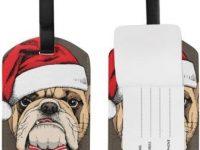 Etiquetas para Maleta bulldog Gorro de Navidad