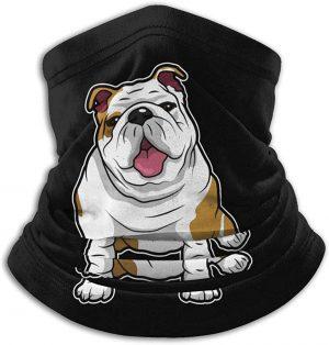 Polaina bulldog ingles color negro calentador para cuello bufanda bragas de cuello bulldog ingles bufanda bulldog