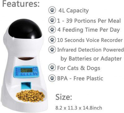 Dispensador automatico de comida Sailnovo con 4l capacidad y voz