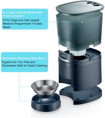 dispensador automatico de comida para perros y gatos alimentador pienso seco honeyguaridan a68 7l
